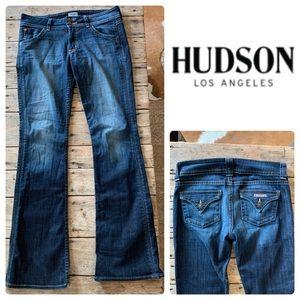 Womens Hudson Boot Cut Stretch Pocket Flap Jeans